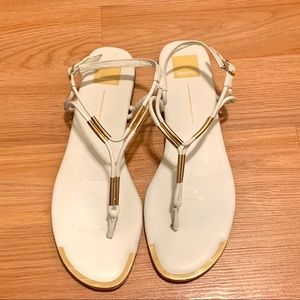 Dolce Vita White with Gold Strappy Sandals - 12